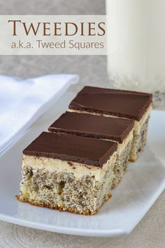 """Tweed Squares a. """"Tweedies"""" - vanilla cake with flecks of grated chocolate baked in, topped with vanilla frosting and finished with a layer of chocolate. A Newfoundland favourite. Köstliche Desserts, Delicious Desserts, Dessert Recipes, Rock Recipes, Sweet Recipes, Bar Recipes, Tea Cakes, Cupcake Cakes, Cupcakes"""