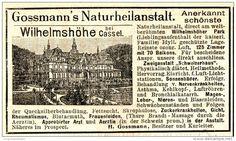 Original-Werbung/ Anzeige 1898 - GOSSMANN´S NATURHEILANSTALT / WILHELMSHÖHE BEI…