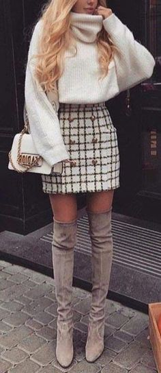 Trending Women's Thigh High Boots Outfit Ideas for Fall or Winter 2018 Classy Elegant Going Out Thigh High Boots Outfit Ideas for Women Fall or Winter – Elegantes ideas para ropa de otoño o invierno para mujeres – www. Warm Fall Outfits, Preppy Fall Outfits, Stylish Winter Outfits, Girls Fall Outfits, Outfits Casual, Winter Fashion Outfits, Outfits For Teens, Outfit Winter, Sophisticated Outfits