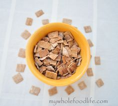 Homemade cinnamon Toast Crunch cereal --Gluten Free --My Whole Food Life Cinnamon Cereal, Cinnamon Toast Crunch, Apple Cinnamon, Sin Gluten, Homemade Cereal, Homemade Food, Crunch Cereal, Clean Eating Breakfast, Vegan Breakfast