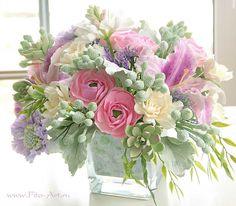 Лучшие работы : Букет с каменными розами, цветы из глины - Fito Art