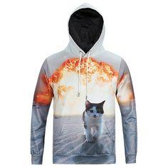 White Cat explosion Printing Hooded Sweatshirt-L6022
