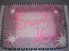 Sweet 16 - Half Sheet Cake - chocolate with chocolate mousse filling. Design was based on the napking my friend purchased. My first time trying the spay colors. Unfortunately the black looked more gray and the silver didn't really show so I didn't get the exact turn out I was trying for but it's not too bad. Each little silver spec is the Wilton Edible Glitter Stars, I used tweezers to place them. Took a while but I love the sparkle they give.
