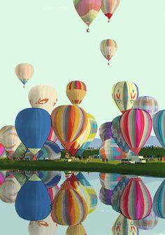 Fun and Colorful Hot Air Balloons. #Hot_Air_Balloons #Reflection