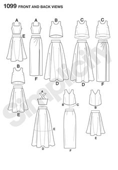 S1099 Misses' Full Skirts, Slim Skirt and Tops