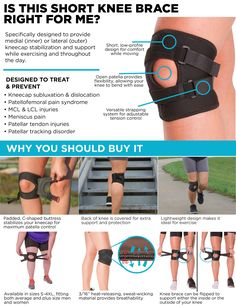Key features and benefits of this short and lightweight patellar dislocation knee brace for exercising including running, walking, and more. Cellulite, Runners Knee, Knee Compression Sleeve, Knee Wraps, Knee Exercises, Fitness Exercises, Workouts, Knee Arthritis, Shin Splints