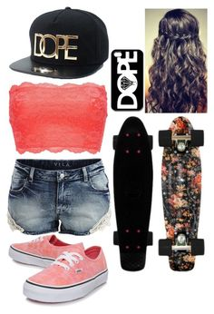 """DOPE"" by kirra-joy-brooks-02 ❤ liked on Polyvore featuring Charlotte Russe, VILA and Vans"