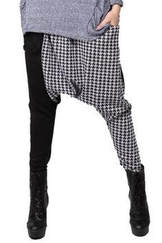 Fashion Black Grey Ultra Low Crotch Baggy Hippie to Hip-hop Harem Pants Kpop Fashion, Asian Fashion, Fashion Outfits, Fashion Black, Skirt Pants, Harem Pants, Trousers, Funky Pants, Geometric Fashion