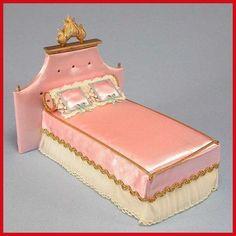 1964 Vintage Ideal Petite Princess Little Pink Bed Dollhouse Furniture | eBay