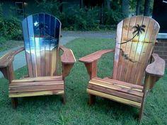 Adirondack chairs painted by Alicia Maynard
