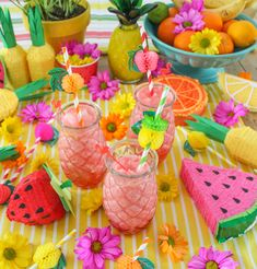 Check out our twotti frutti selection for the very best in unique or custom, handmade pieces from our shops. Fruit Birthday, Summer Birthday, 2nd Birthday, Birthday Parties, Nibbles For Party, Aloha Party, Second Birthday Ideas, Tropical Christmas, Alice