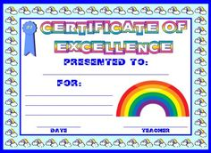 printable hard work certificates kids | Printable Student Achievement Award Certificates: Excellence