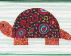 Turtle Quilted Fabric Postcard; turtle shell fabric is terrific! jk