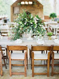 A Beautifully Green Tennessee Wedding from Erich McVey - rustic wedding centerpiece idea