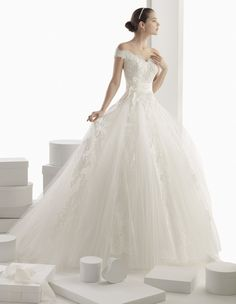 Rosa Clara Bridal: Off-the-Shoulder Tulle Ball Gown Wedding Gown