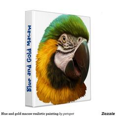 Blue and gold macaw realistic painting 3 ring binder. A portrait painting of blue and gold macaw in realism done digitally by Emmilia Thomas. Perfect gifts for macaw lovers especially b&g macaw parents. #blueandgoldmacaw #bgmacaw #bigparrot #bird #macawportraitpainting #funnyparrot #macawparents #ilovemacaw #macaws #crazybirdman #crazybirdlady #parrotgirl #macawmom #macawdad #blueandyellowmacaw