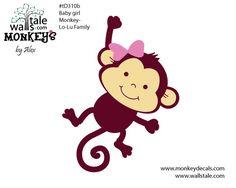 Cartoon drawings of cute monkeys | d310b Baby girl monkey decal – Lo-Lu family