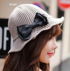 8b9387dbb57 Sweet style bow knit bucket hat for girls flounced winter hats outdoors wear
