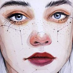 I like how they did the nose with watercolor and accentuated the bottom lashes. I also like the freckles.