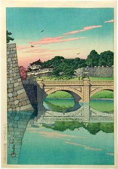 Kawase Hasui (1883-1957): Morning at Nijubashi, woodblock print, ca. 1830.