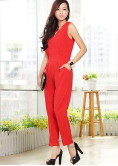 Women Chiffon Sleeveless Red Elegant jumpsuit