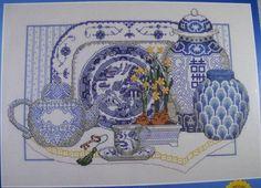 "Janlynn Cross Stitch Kit Delft Blue China 14"" x 10"" New Sealed #Janlynn #Frame"