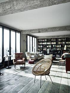wicker, paisley chair, black built-in, natural floors
