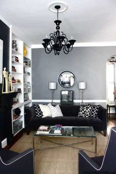 iving room, black white and gray