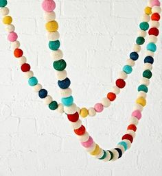 You've never felt more festive till you've felt our Festive Felt Garland. Perfect for a playroom, kids room or any shared space, the colorful garland can even be mixed and matched for an extra bright display. Hanging Garland, Felt Ball Garland, Tassel Garland, Crochet Garland, Kids Wall Decor, Art Wall Kids, Wall Art, Room Decor, Wall Decal