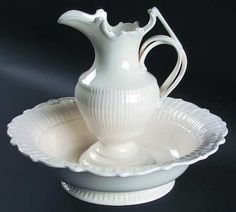 cream ware pitcher and basin.