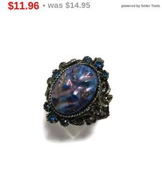 ON SALE Blue Stone Statement Ring Vintage Estate Costume