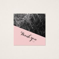 Black and Pink Marble Wedding Thank you. Square Business Card