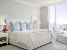 The Master Bedroomu0027s Light Blue Walls Not Only Pull In The Color Scheme  From The Nearby Living Room But Also Add Dimension To The Space.