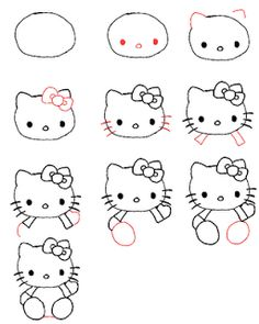 Peace, Love, Crafts: How to draw Hello Kitty! So cute!!!!