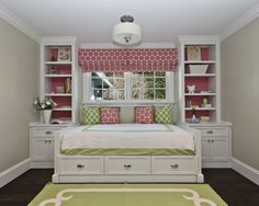 love the built in shelves surrounding the bed. perfect.