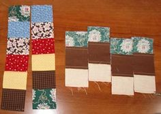 Quick strip quilting - sew six strips together, then sew first and last strip together creating a tube.  Cut cross-wise, then pick apart one seam on each loop, until you have six different strips, then sew together! - Quiltville's Quips & Snips!!: Scrappy Trips!!