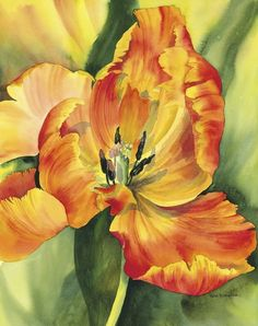 """Flame Tulip"" by Rachel McNaughton Fleur Orange, Orange Art, Watercolor Flowers, Watercolor Art, Tulip Painting, Arte Floral, Colorful Drawings, Flower Pictures, Beautiful Paintings"