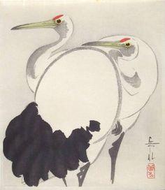 Ukiyo-e Gallery:  Artist: Gakusui, Title: Two Herons, c 1950 (print)