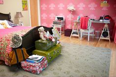 Bed room with toys and study table