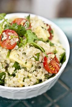 Clean Eating Vegetarian Quinoa and Avocado Salad with Carnivorous Possibilities
