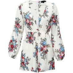 White V Neck Floral Jumpsuit (23610 IQD) ❤ liked on Polyvore featuring jumpsuits, white, long sleeve jumpsuit, jump suit, white jumpsuit, floral jumpsuit and sleeved jumpsuit