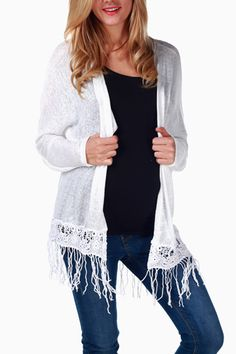 White-Crochet-Accent-Maternity-Cardigan also in pink, black and mocha from pink blush maternity