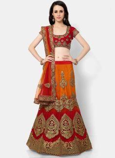 Orange Red Embroidery Thread Work Net Designer Fancy Wedding Lehenga Choli         #LEHENGA #Choli #Wedding #Bridal       http://www.angelnx.com/Lehenga Choli
