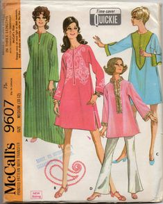 McCalls 9607 1960s Misses RAJAH Kurta Caftan Top Dress Pattern Paisley  Womens Vintage Sewing Pattern Size Small 6 - 8 Bust 30 31 83958903cd13