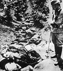 Japanese war crimes - Soochow, China, 1938. A ditch full of the bodies of Chinese civilians, killed by Japanese soldiers.