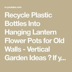 """Recycle Plastic Bottles Into Hanging Lantern Flower Pots for Old Walls - Vertical Garden Ideas 👍 If you like our video don't forget to press the button """"Su... Plastic Bottle Crafts, Recycle Plastic Bottles, Hanging Pots, Hanging Lanterns, Recycle Crafts, Recycling, Old Wall, Flower Pots, Don't Forget"""