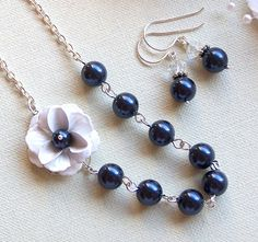 Bridesmaids Gift  Necklace and Earrings Set  by lecollezione, $51.00