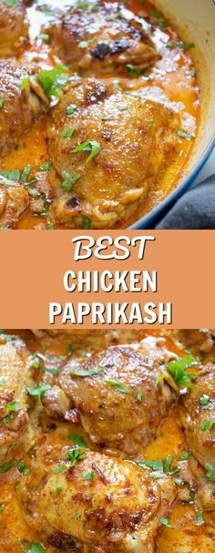 You won't regret if you try my version of Hungarian Chicken Paprikash. It's an authentic recipe with Bone In Chicken Recipes, Easy Chicken Dinner Recipes, Chicken Thigh Recipes, Healthy Chicken Recipes, Cooking Recipes, Recipes Dinner, Drink Recipes, Fast Recipes, Beef Recipes