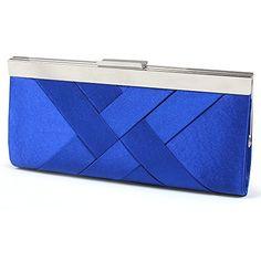 Distressed Damen Satin Clutch Abendtasche Schultertasche D9004 - royalblau