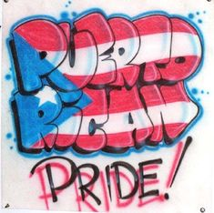 Puerto Rican Pride Airbrushed T-Shirt with Flag Colors Inside Name.